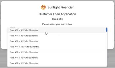 Sunlight Financials - Request finance - Choose loan option