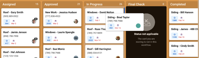 Board - Card not moving into List