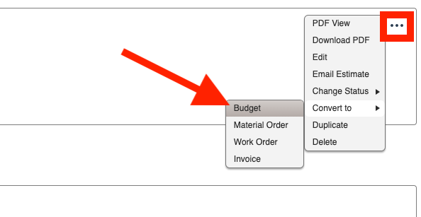 Budgets - How to convert from an Estimate