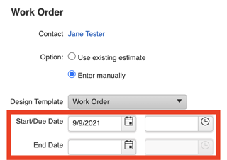 Record Scheduling - Add dates to Work Order