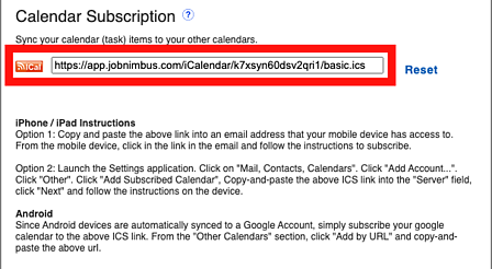 Calendar - My Info Subscription