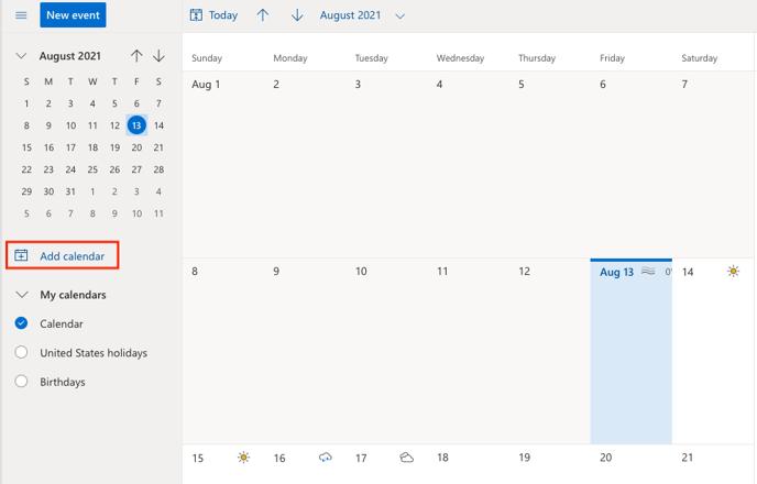 UPDATED Outlook add calendar