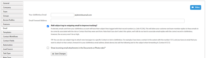 Communication JobNimbus Email