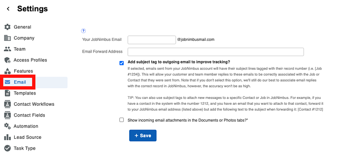 Communication - Settings Email