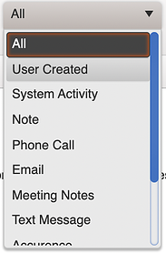 activity feed sort menu