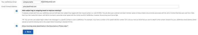 settings email tab