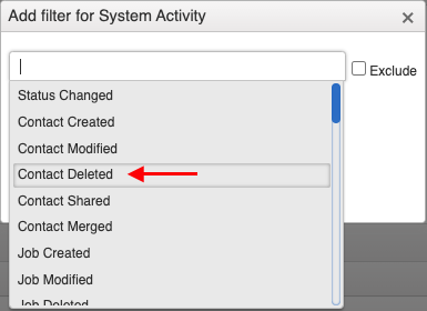 filter for system activity