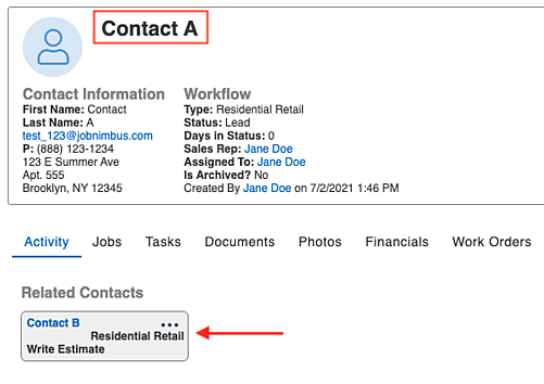 example contact A related view