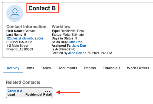 example contact B related view