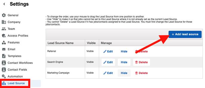 Contacts - Lead Source Add