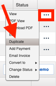 Invoices - How to Duplicate