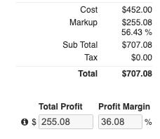 Financials - Markup Totals