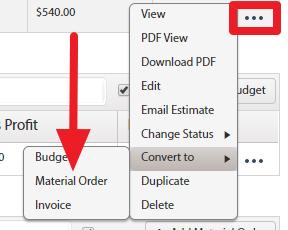 Material Order Estimate Convert