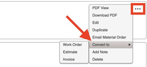 Material Orders - Convert Material Order