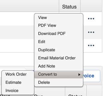 Material Orders - What can I convert a Material Order to?