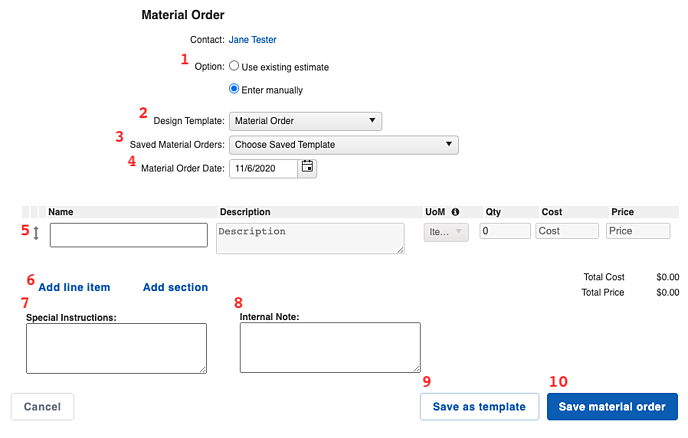 Material Orders - Builder
