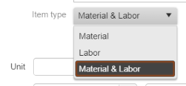 Products & Services Material and Labor Item Type