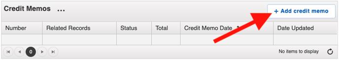 Financials - Add Credit Memo