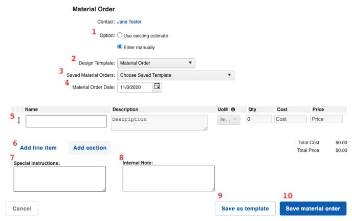 Financials - Material Order Builder