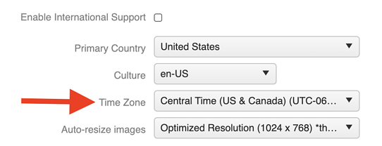 General Settings - Time Zone