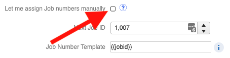 Custom ID - Manual Job Number