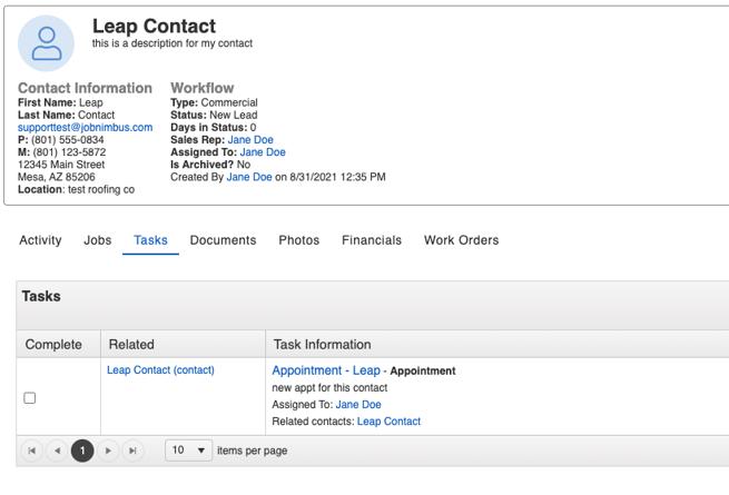 JN acct contact page