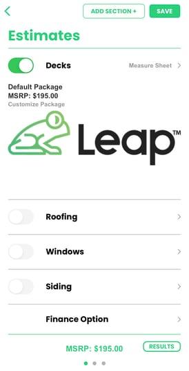 create estimate leap mobile