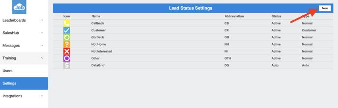 SalesRabbit - Lead Statuses - Add new Status
