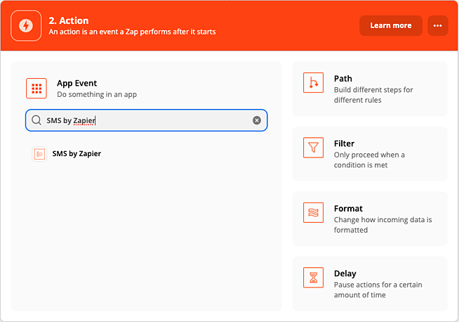 SMS by zapier action