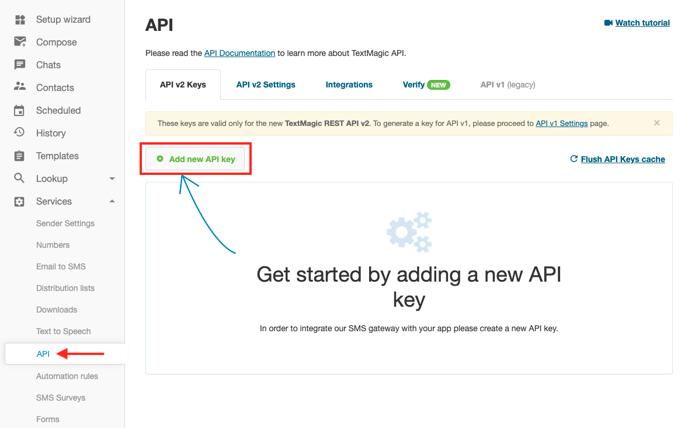 TM acct generate API key for zapier