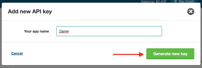 TM acct generate key app name