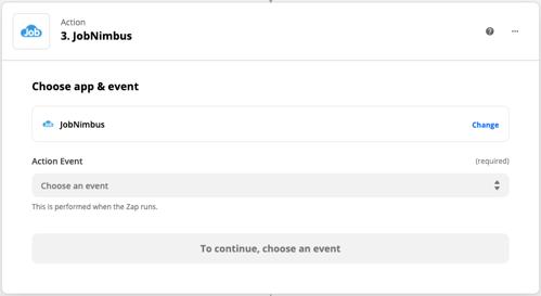 Zapier - Action Choose event