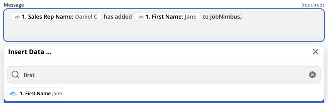 Zapier - Send SMS msg - JN custom info