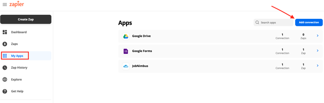 Zapier my apps add connection