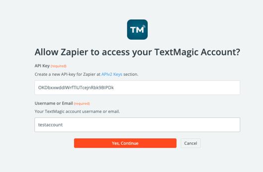 Zapier paste TM API key authorize