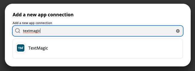 add new app search textmagic
