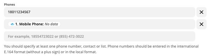 phones fields sending text