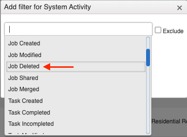 activity report add filter job deleted