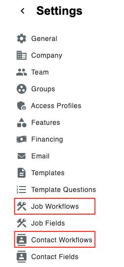 settings menu job v. contact workflow tabs