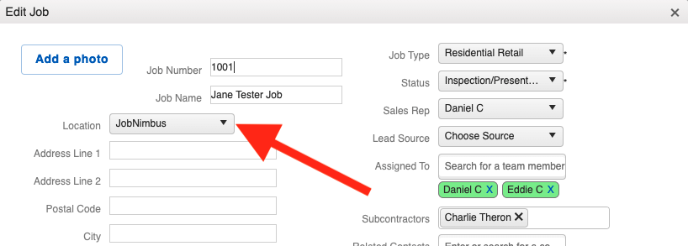 Locations - Edit Job - Add Location