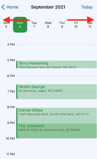 Mobile App - Calendar - Navigating weeks