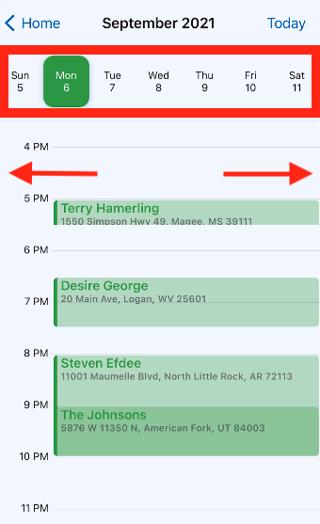 Mobile App - Calendar - Navigating