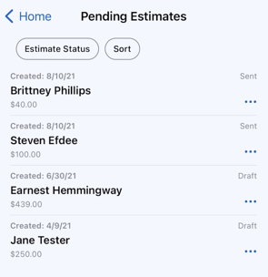 Mobile App - Contacts - View all Estimates