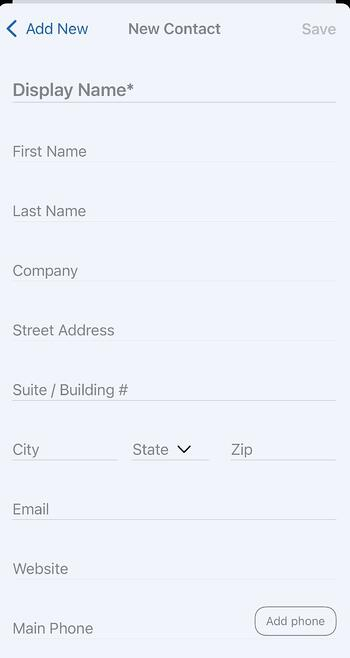 Mobile App - What to add to a new Contact