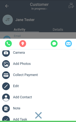 Mobile App Contacts Menu