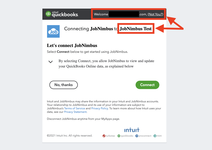 QuickBooks Online - Connect integration