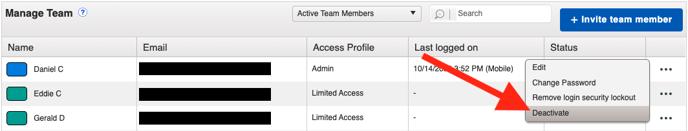 Settings - Team Members - Deactivate