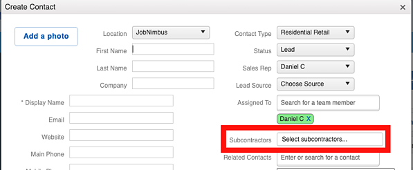 Subcontractor - Contact Relate