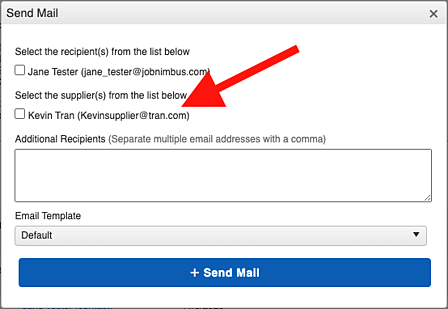Subcontractor - Email Material Order Window