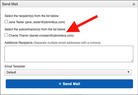 Subcontractor - Email Work Order Window